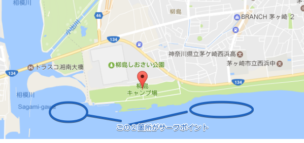 柳島キャンプ場 Google マップ 2017 05 26 23 08 38