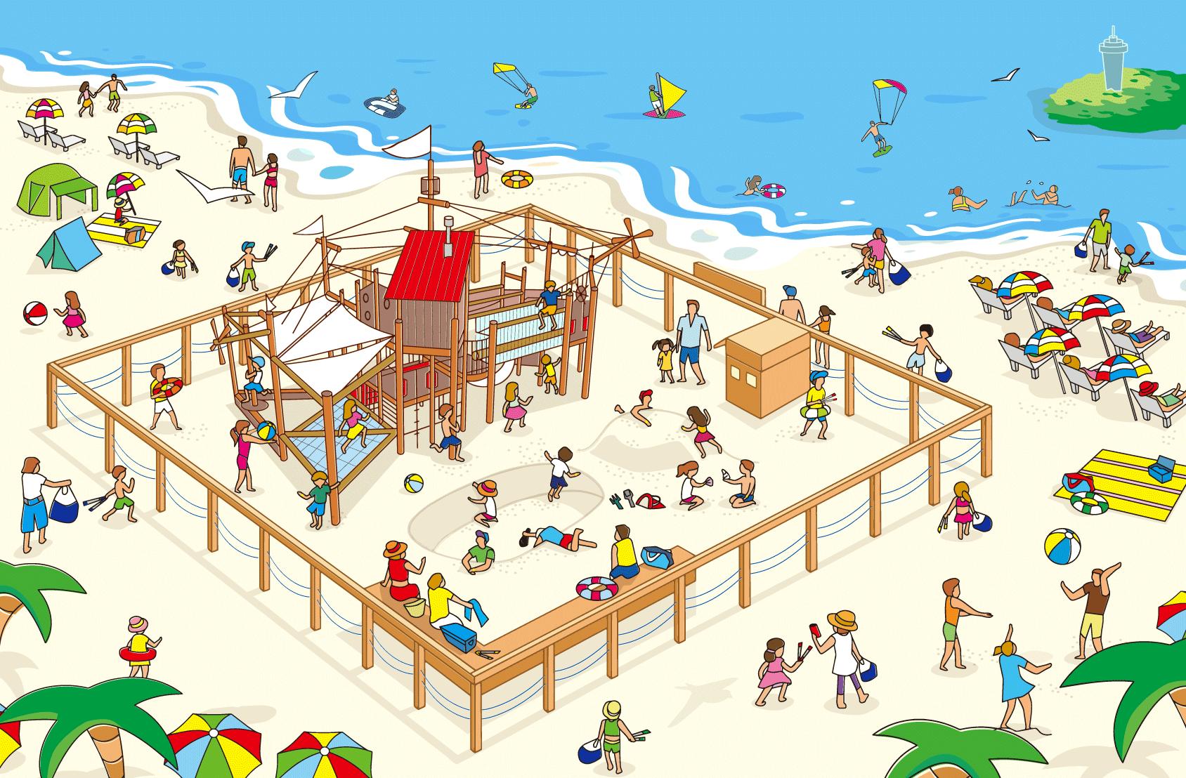 【江の島】片瀬東浜海水浴場に子供が遊べるスポット「ちびっこBEACH SAVERパーク」誕生!!