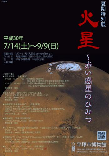 平塚市博物館で「火星~赤い惑星のひみつ」が開催されます。火星が地球に接近するタイミングで火星について知ろう。