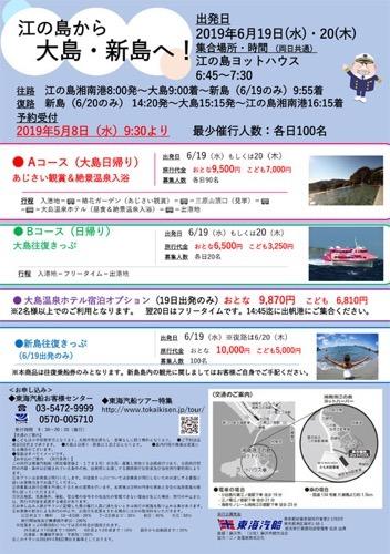 江ノ島から新島・大島に行けるみたい!!2019年6月19日(水)・20(木)新島は1泊2日、大島は日帰りがありました。